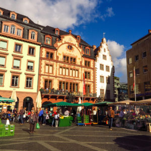 The Marktplatz in Mainz is popular with both tourists and locals. Copyright Amy Laughinghouse.