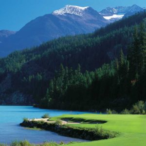 """THE SIGNATURE PAR-3 17TH HOLE AT NICKLAUS NORTH COURSE, WHISTLER – IMAGE CREDIT GOLF BC GROUP"""