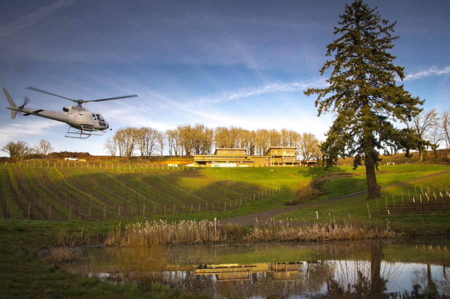 Precision Helicopters Tour DeVine by Heli custom helicopter tours at Alexana Winery, Willamette Valley, Oregon